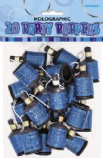 20 Blue Glitz Party Poppers